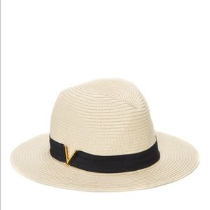 Vince Camuto V ribbon band straw hat natural